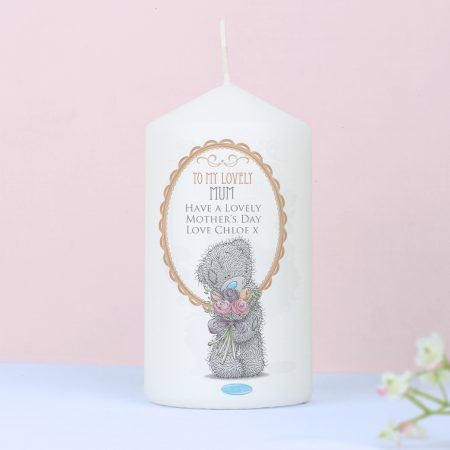 Personalised Me to You Flowers Pillar Candle For Her