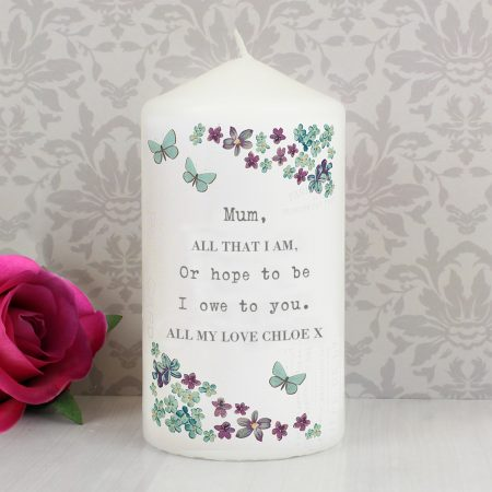 Personalised Forget me not Pillar Candle