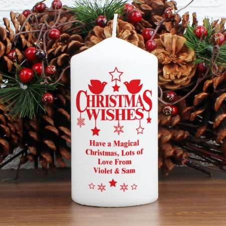 Personalised Christmas Wishes Pillar Candle