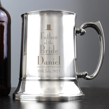 Personalised Decorative Wedding Father of the Bride Stainless Steel Barware Tankard