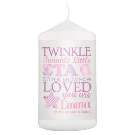 Personalised Twinkle Girls Pillar Candle