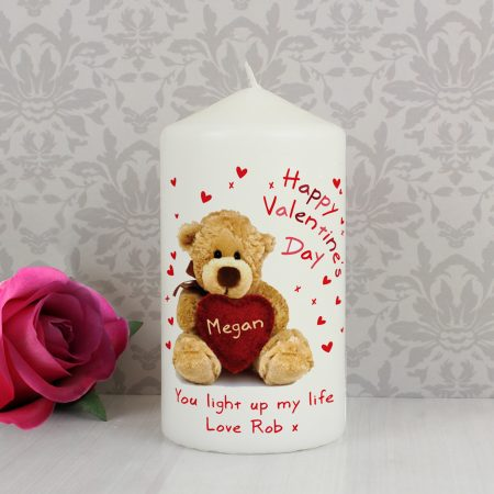 Personalised Teddy Heart Pillar Candle