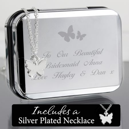 Personalised Butterfly Jewellery Box and Butterfly Necklace