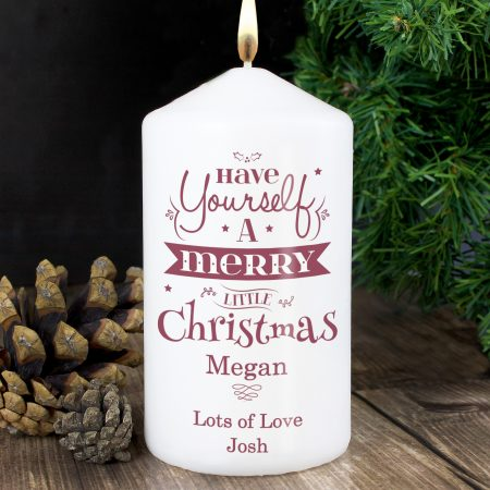 Personalised Merry Little Christmas Pillar Candle