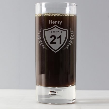 Personalised 21st Age Crest Hi Ball Bubble Glass