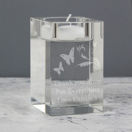 Personalised Butterfly Swirl Glass Tea Light Candle Holder