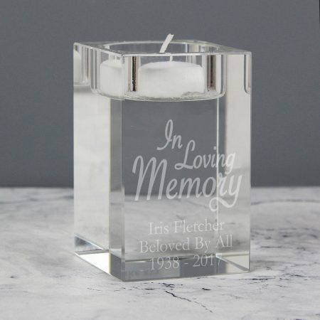 Personalised In Loving Memory Glass Tea Light Candle Holder