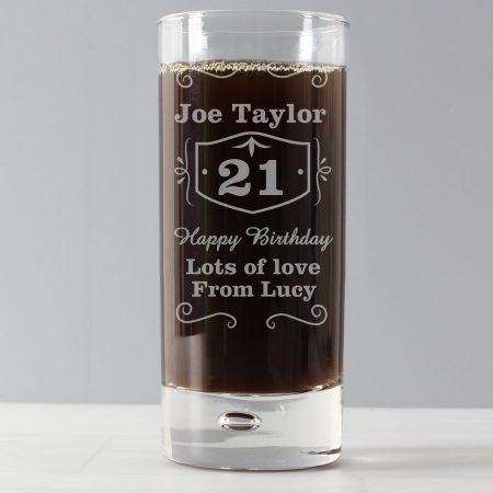 Personalised 21st Classic Whisky Hi Ball Bubble Glass