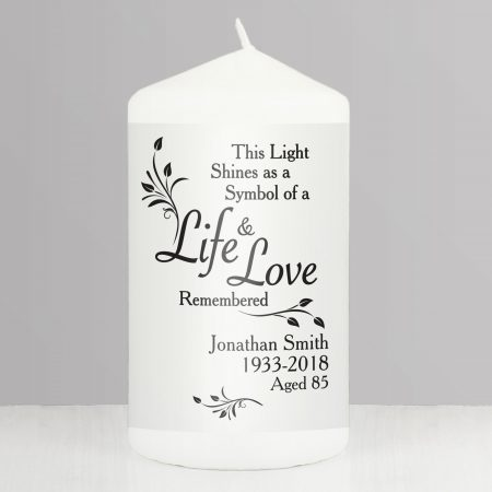Personalised Life & Love Pillar Candle
