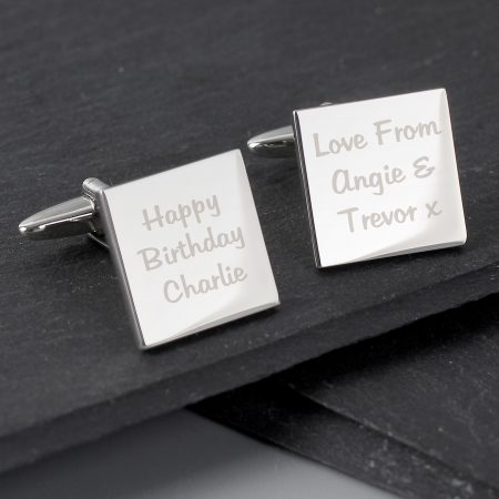 Personalised Any Message Square Cufflinks for Best Man and Ushers- 3 lines