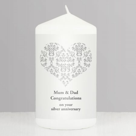 Personalised Silver Damask Heart Pillar Candle