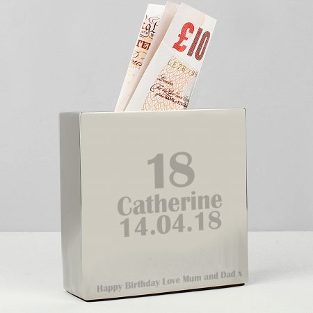 Personalised 16th Age Square Money Box
