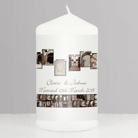 Personalised Affection Art Mr & Mrs Pillar Candle