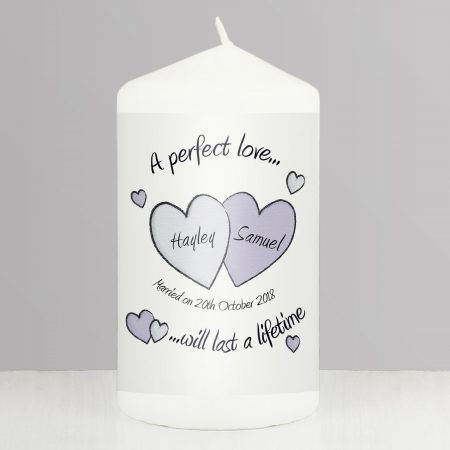 Personalised A Perfect Love Wedding Pillar Candle