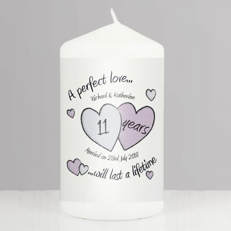 Personalised A Perfect Love Anniversary Pillar Candle