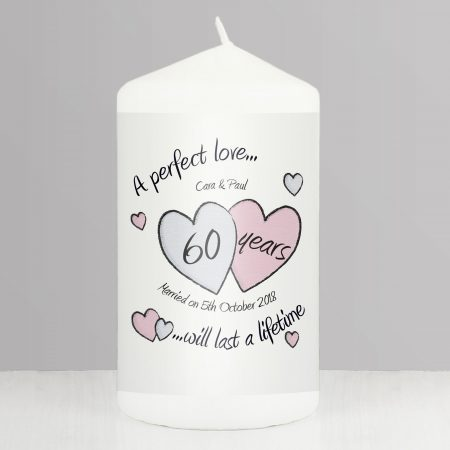 Personalised A Perfect Love Diamond Anniversary Pillar Candle