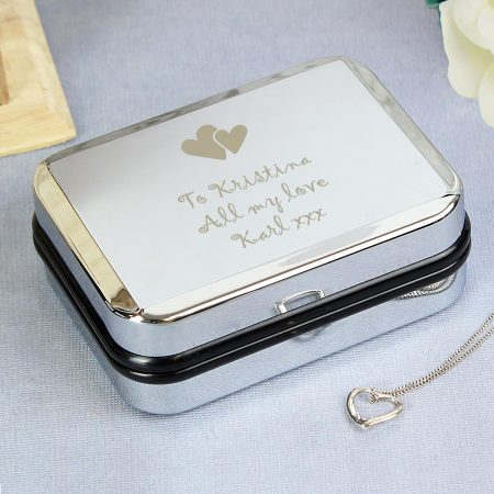 Personalised Heart Necklace and Jewellry Box