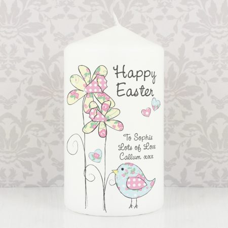Personalised Daffodil Chick Easter Pillar Candle