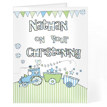 Personalised Whimsical Train Naming Day Christening Card