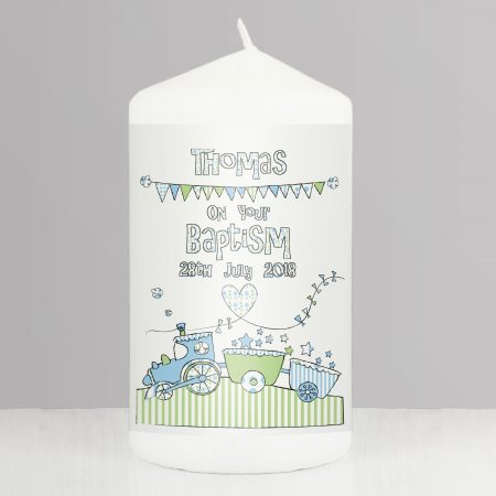 Personalised Whimsical Train Pillar Candle