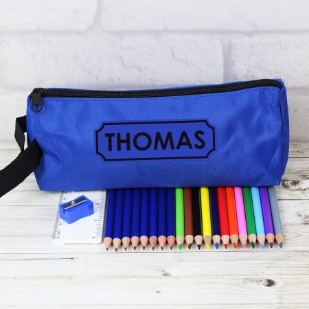Blue Case and None Personalised Coloring Pencils