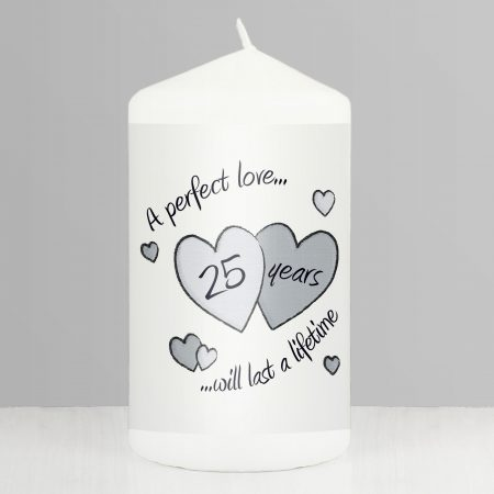 Perfect Love Silver Anniversary Pillar Candle