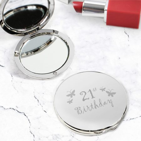 21st Butterfly Round Compact Mirror