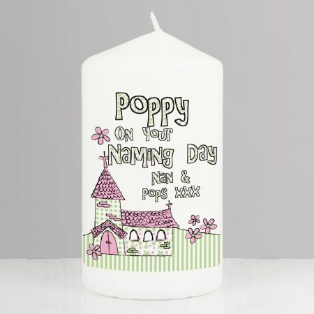 Personalised Pink Church Pillar Candle