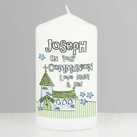 Personalised Blue Church Pillar Candle