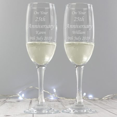 Personalised Celebration Pair of Flute Glasses with Gift Box
