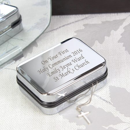 Personalised Jewellery Box with Silver Cross Necklace