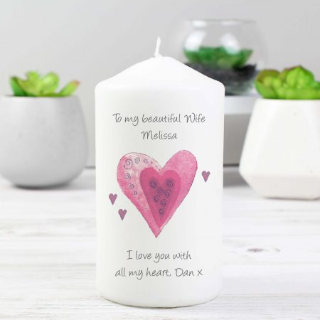 Personalised Hearts Pillar Candle