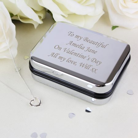 Personalised Jewellery Box With Heart Necklace