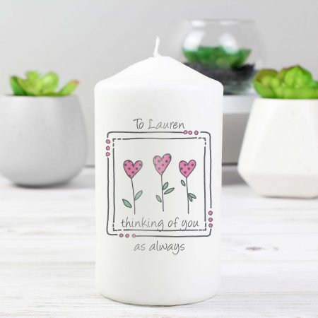 Personalised 3 Hearts Message Pillar Candle