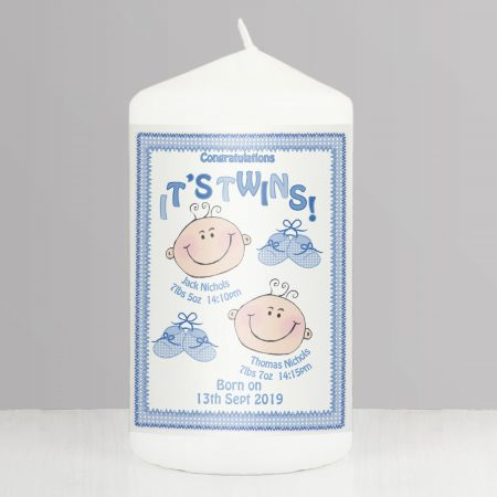 Personalised Its Twins Pillar Candle Blue