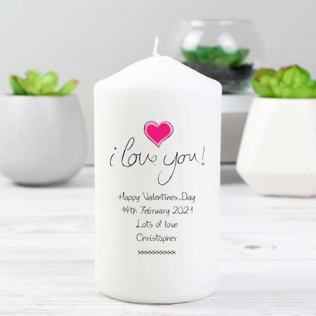 Personalised I Love You Pillar Candle