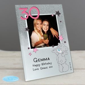 Personalised Me To You Sparkle & Shine 4x4 Glitter Glass Photo Frame for 16th