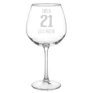 Personalised 21st Big Age Bottle of Wine Glass