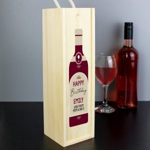 Personalised grandad Text Red Wooden Wine Bottle Box