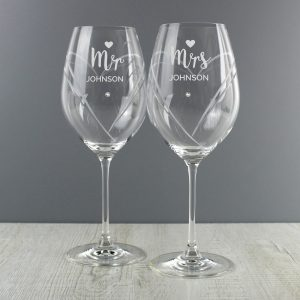 Personalised Mr & Mrs Hand Cut Heart Pattern Pair of Wine Glasses with Swarovski Elements Glasses