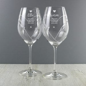 Personalised Free Text Hand Cut Heart Pattern Pair of Wine Glasses with Swarovski Elements Glasses