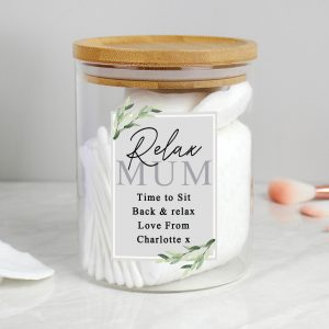 Personalised Botanical Glass Jar with Bamboo Lid