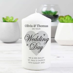 Personalised On Your Wedding Day Pillar Candle